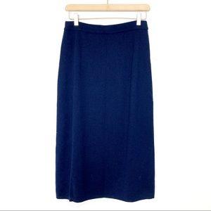 Vintage wool pencil midi skirt Italian classic chic navy blue